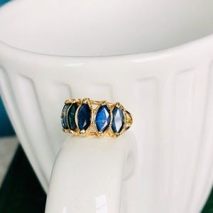 Vintage 5 Marquise Sapphire 14k gold ring
